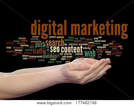 Concept or conceptual digital marketing seo or traffic abstract word cloud in hand isolated on background