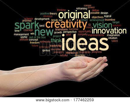 Concept or conceptual creative new ideas or brainstorming abstract word cloud in hands isolated on background