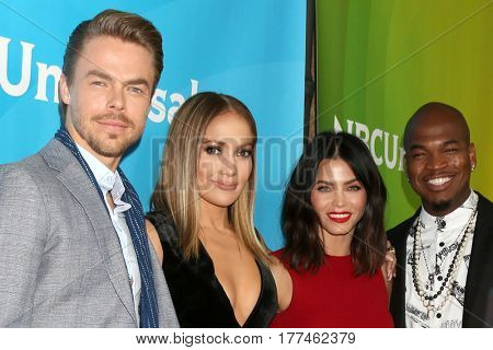 LOS ANGELES - MAR 20:  Derek Hough, Jennifer Lopez, Jenna Dewan Tatum, Ne-Yo at the NBCUniversal Summer Press Day at Beverly Hilton Hotel on March 20, 2017 in Beverly Hills, CA