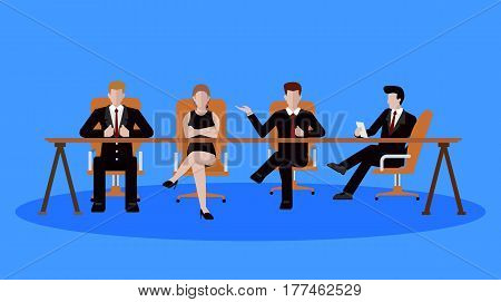 Business meeting concept. Business people having meeting. Business people talking and discussing. Vector stock.