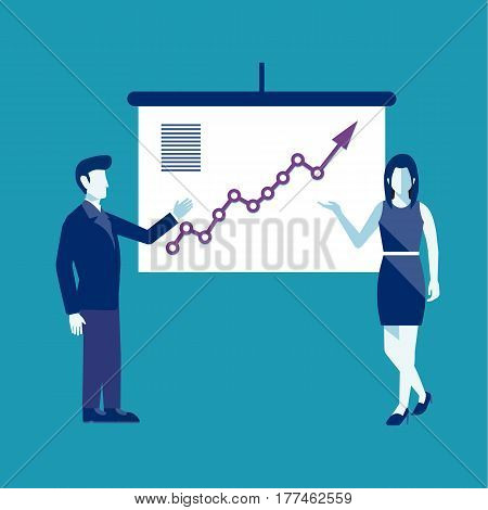 Cartoon business people presentation. Business meeting. Business people with projector. Vector stock.