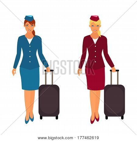 Cartoon air hostess with suitcase. Two air hostess in uniform. Air hostess isolated on white background. Vector stock.