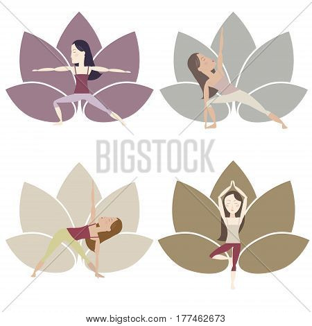 Set of yoga poses im muted colors with cartoon characters. Vector eps10