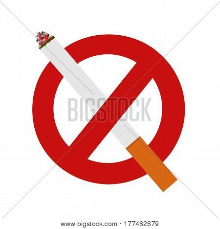 The sign no smoking area. Smoking prohibited symbol isolated on white background. Vector stock.