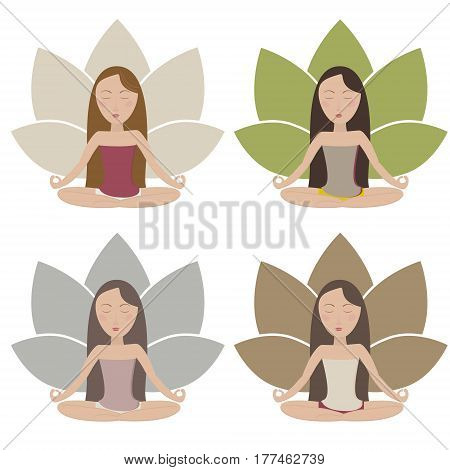 Set of illustrations with meditating girls in muted colors. Vector eps10