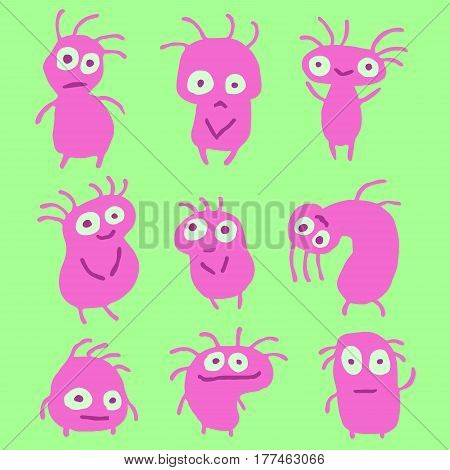 Red Aliens Crazy Emoticons Set. Funny Cartoon Cool Characters. Green Color Background. Vector Illustration.