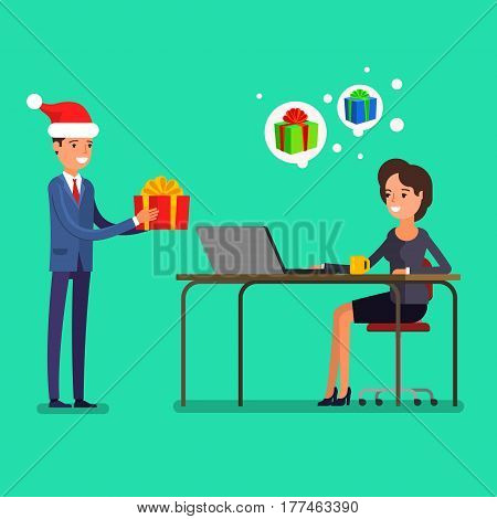 New year business concept. Businessman in a Santa Claus hat gives a gift to a woman sitting at a table. Flat design, vector illustration.