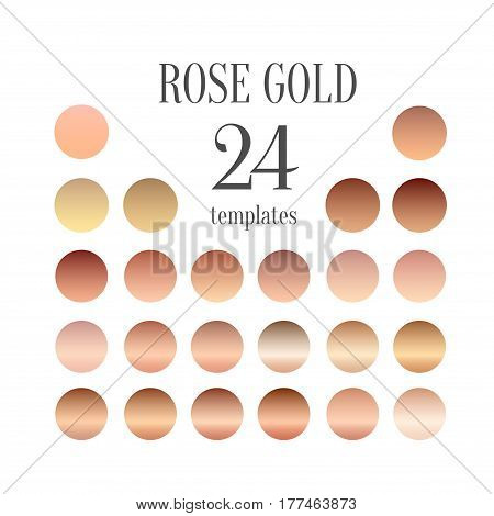 Rose gold gradient collection for fashion design. Vector illustration.
