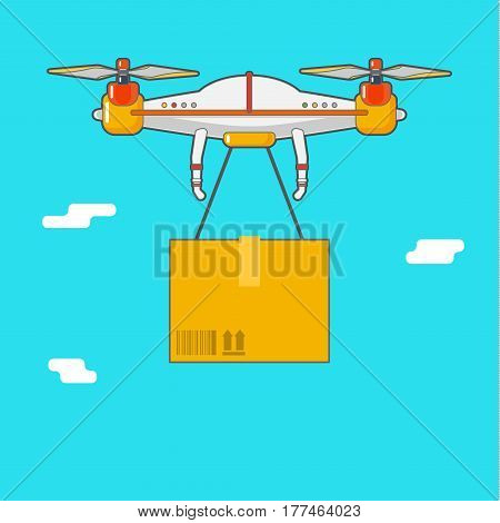 Delivery of cargo. Quadcopter aerial drone with cargo. Flat design, vector illustration.