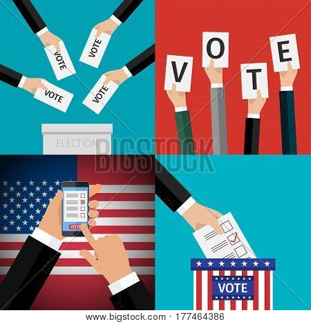 Concept of election set. Hands holding sheets of paper with voting paper, election day campaign. Flat design, vector illustration.