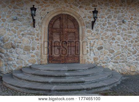 Ancient door along the narrow streets of the town of Nesebar, Bulgaria.