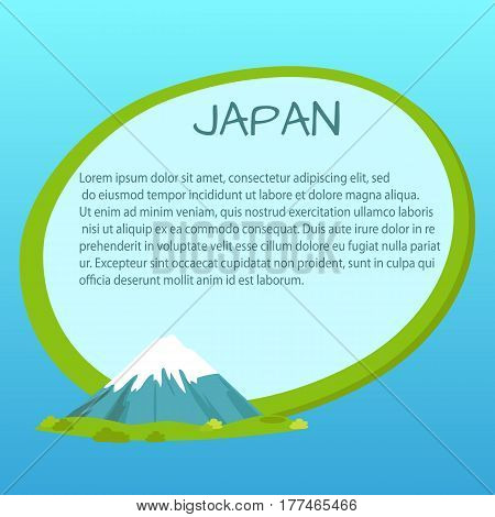 Japan label with written information inside near fuji mountain on green island surrounded by sea or ocean. Vector illustration of text about Japan in tag with green border on blue background