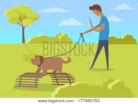Young boy walking with dog in park and paying attention only on smartphone. Vector illustration of male person spending time in park with dog on lead on green grass and trees in good weather.