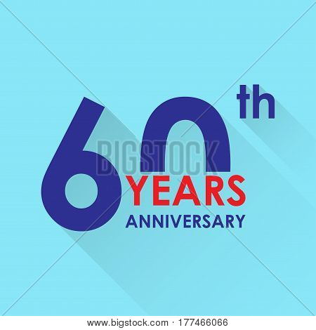 60 years anniversary icon. Invitation and congratulation design template. Flat vector illustration of 60th anniversary emblem.