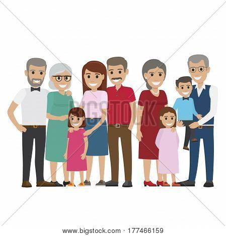 Multi-generation family colourful photo on white. Smiling small daughters, little son on grandfather s hands, young mother and father near their parents. Vector illustration of gathered family