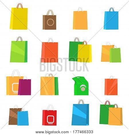 Colorful empty shopping bags isolated vector set. Shopping bags, fashion design, store merchandise, handle package. Colorful paper gift handle package shop, market shopping bags vector illustration.