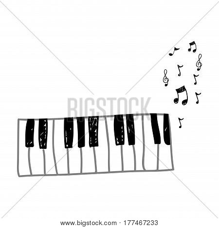 piano instrument with note musical icon, vector illustration design