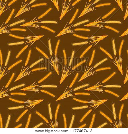 Cartoon background with wheat ears. Seamless pattern. Colorful vector illustration.