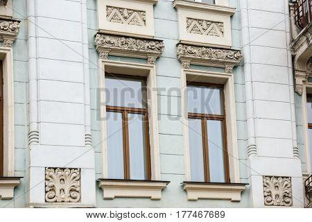 Ornate building with vintage windows