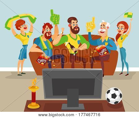 Vector cartoon illustration of a family of football fans watching a football match on TV