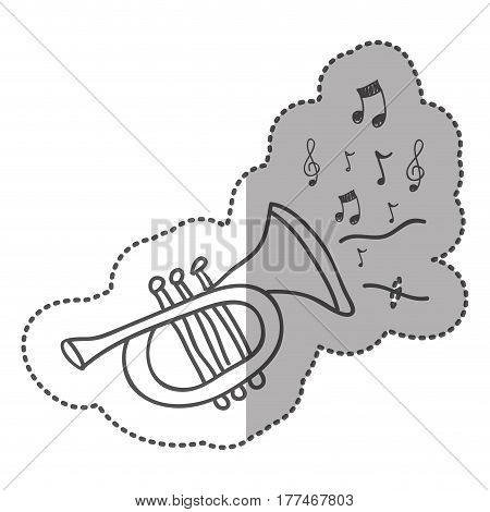trumpet instrument with notes music icon, vector illustration design