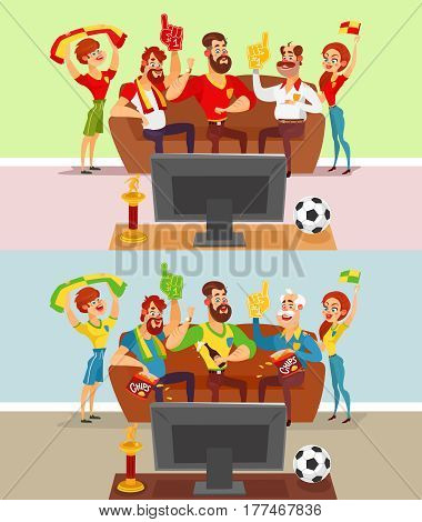 Two vector cartoon illustrations of a group of friends and family members of football fans watching a football match on TV