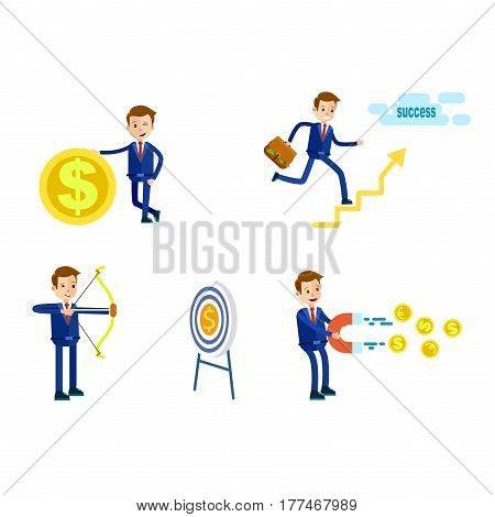 Cartoon businessman in blue suit and red tie in different positions with bag full of money, dollar icon, hit target and with magnet isolated on white background. Vector illustration of careerist.