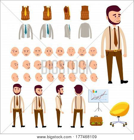 Male character constructor set includes emotional faces, hipster clothes, jacket and vest, briefcase full of money, chart on stand and bright office chair. Vector illustration of human model.