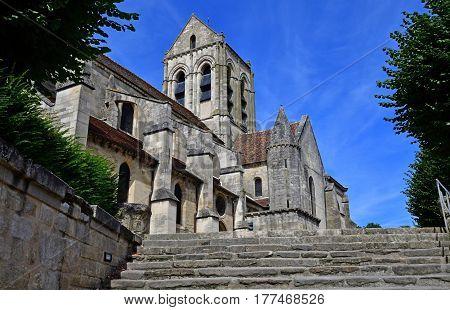 Auvers sur Oise France - august 14 2016 : the Notre Dame de l Assomption church