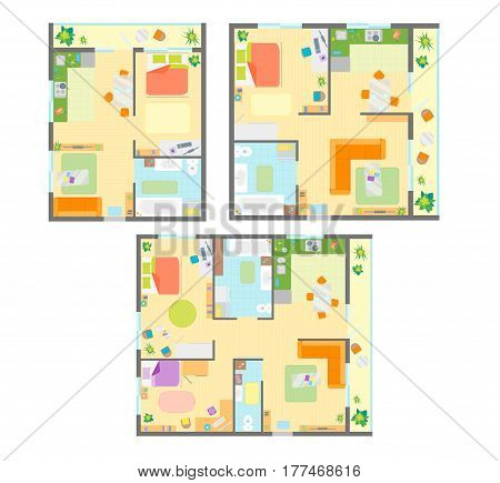 Apartment Plan with Furniture Set Top View Basic Room Scheme. Vector illustration