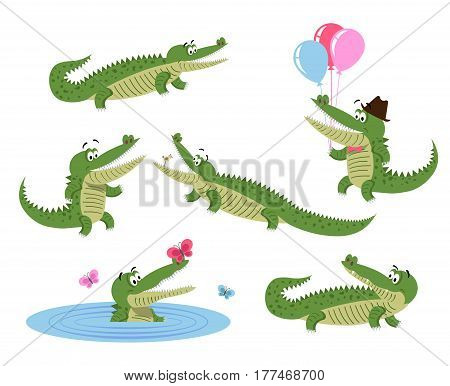 Funny cartoon crocodiles in natural position, on hind legs, in water with butterflies and with balloons in hat and bow tie isolated on white background. Friendly reptiles vector illustration.