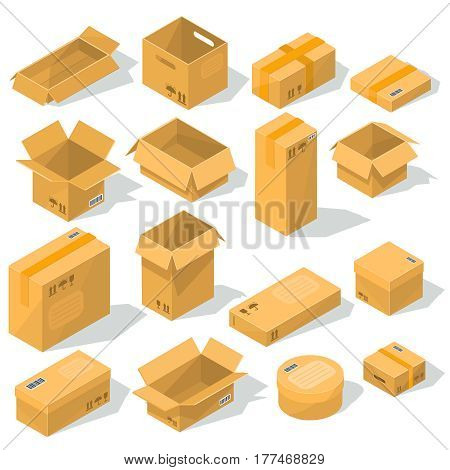 Set of vector icons cardboard packaging for delivery isolated on white background. Open and closed cardboard boxes of various shapes and sizes with emblems of fragility on them