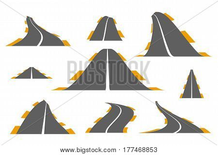 Set of asphalt roads. Vector illustration of roads with solid line