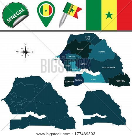 Map Of Senegal With Named Regions