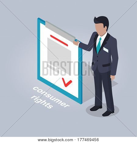 Consumer rights representation. Businessman stands and points on document with consumer rights isolated on grey background. E-commerce advertising vector illustration. Safe Internet shopping concept
