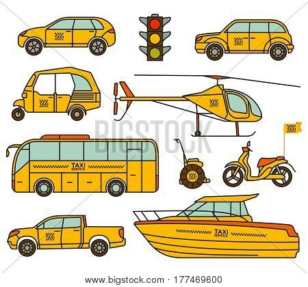 Taxi line icons set isolated on the white. Vector illustration.