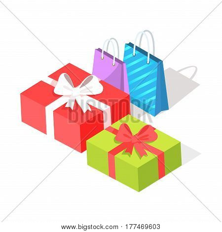 Bright gift boxes, red and green, and small shopping bags, purple and blue with strips, isolated on white background. E commerce advertising vector illustration. Purchases and presents in Internet.
