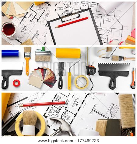 Collage of professional decorator equipment