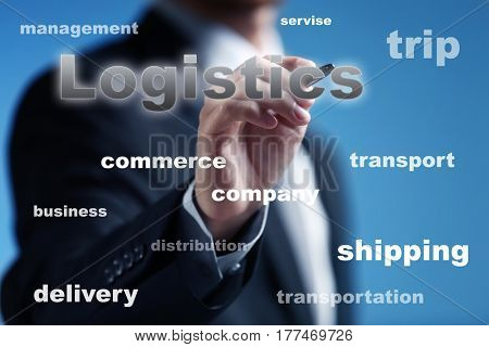 Logistics and wholesale concept. Man working with virtual screen