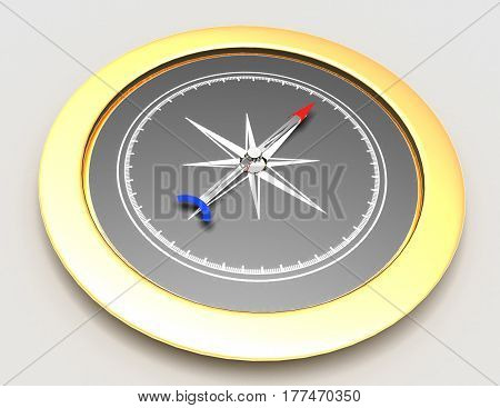 Abstract gold compass  . 3d rendered illustration