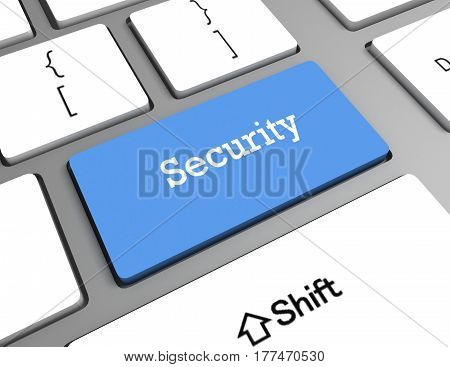computer keyboard with word security. rendered illustration