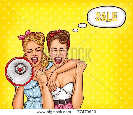 Vector pop art illustration of two enthusiastic sexy women screaming about a sale. An excellent advertising poster for the announcement of discounts and sales in the style of pop art
