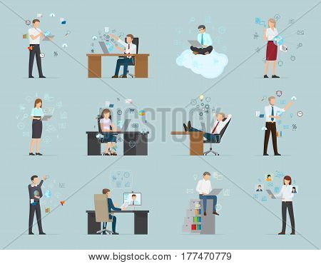 Workers in office wear work online from modern devices and in usual and atypical conditions on blue background. Set includes female and male characters. Internet business vector illustration.