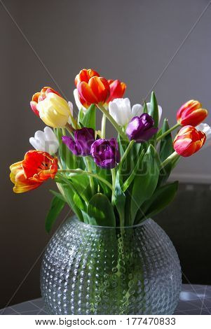 Glorious tulip flowers bouquet in a vase with natural light