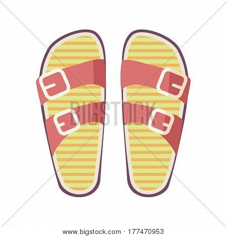 Casual summer flip-flops with red straps and yellow footbed isolated on white background. Women comfortable footwear for casual look and beach walks. Fashionable women footgear vector illustration.