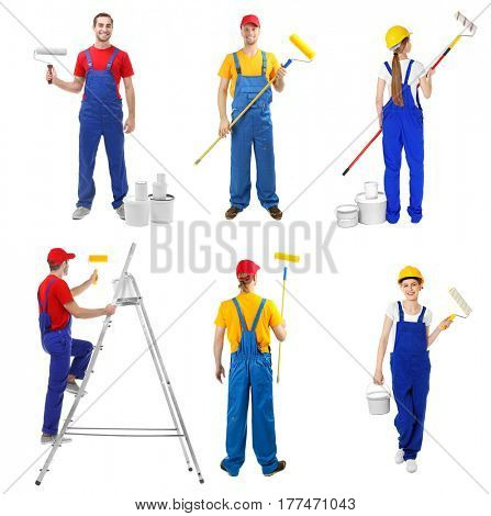Team of decorators with professional equipment on white background