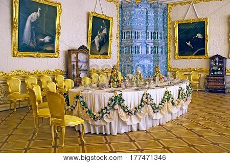 TSARSKOYE SELO, SAINT-PETERSBURG, RUSSIA -- FEBRUARY 14, 2016: The White State Dining Room in The Catherine Palace. The Tsarskoye Selo is The State Museum-Preserve