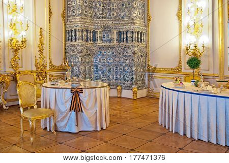 TSARSKOYE SELO, SAINT-PETERSBURG, RUSSIA -- FEBRUARY 14, 2016: The Chevaliers Dining Room in The Catherine Palace. The Tsarskoye Selo is The State Museum-Preserve