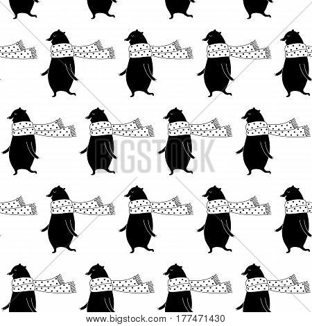 Cartoon animal pattern with sweet bear in scarf. Cute vector black and white animal pattern. Seamless monochrome animal pattern for fabric, wallpapers, wrapping paper, cards and web backgrounds.