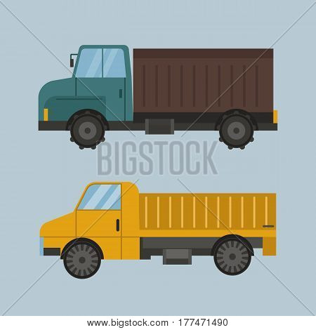 Agriculture industrial farm equipment machinery tractor brown truck and yellow rural machinery corn car harvesting wheel vector illustration. Autumn farmland heavy industry transportation.